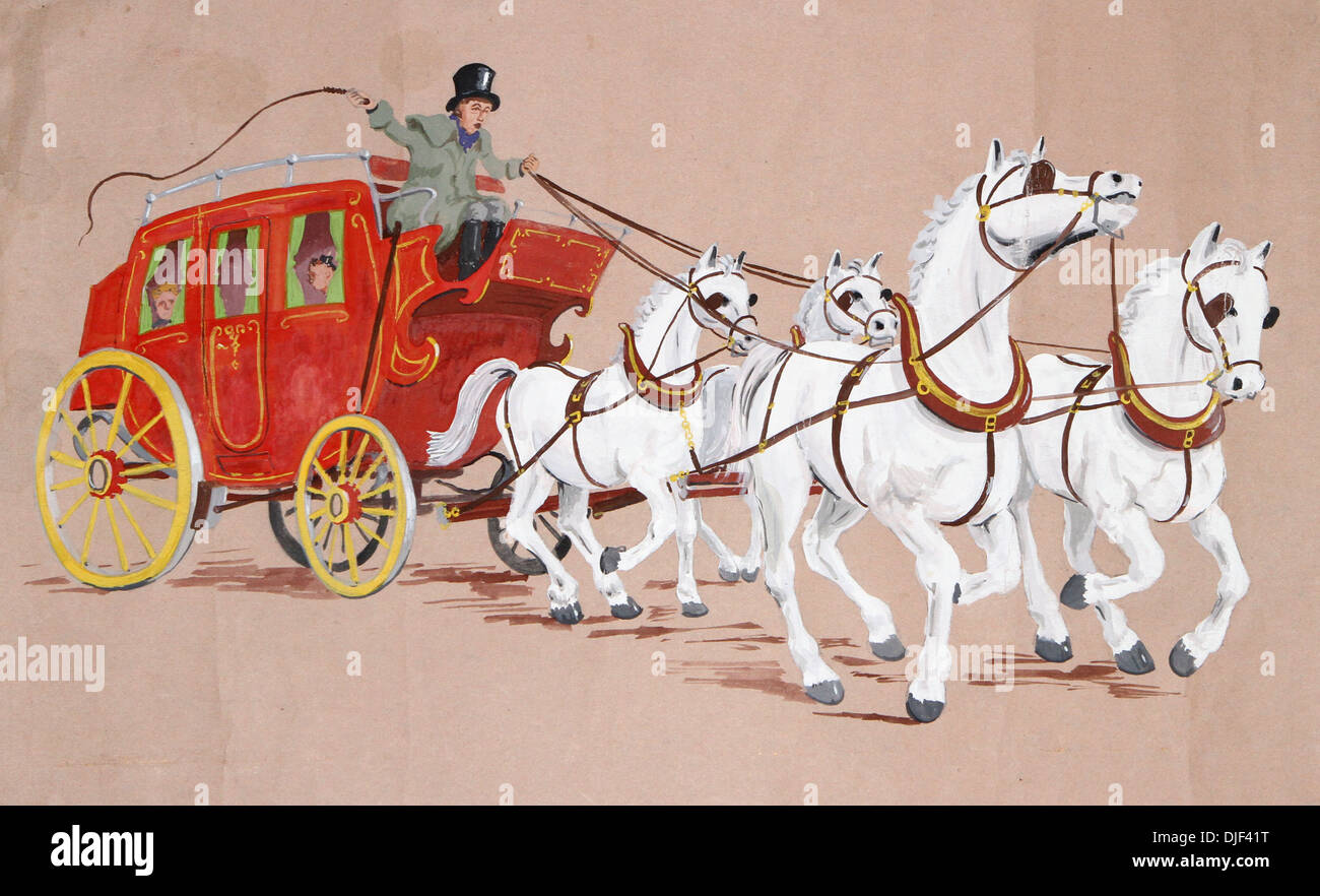 Illustration Of A Horse And Carriage Stock Photo Alamy
