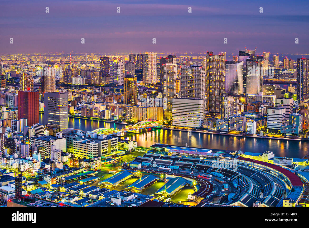 View of Tokyo, Japan over Tsukiji Fish Market. Stock Photo