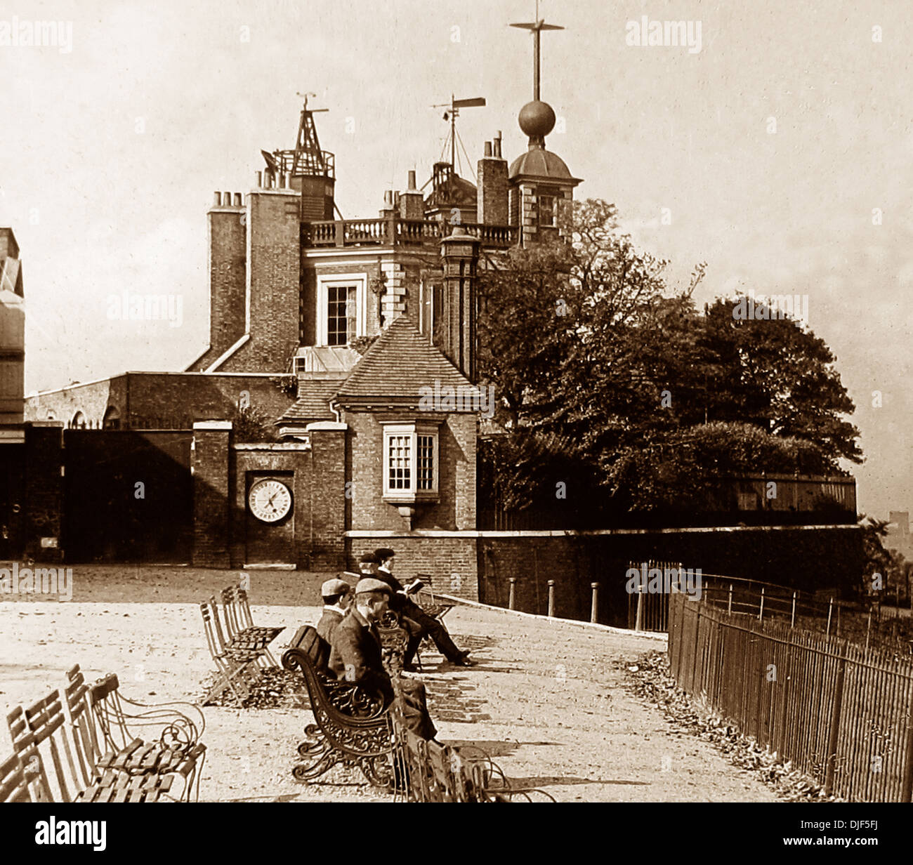 Greenwich Observatory and Time Ball Victorian period - Stock Image