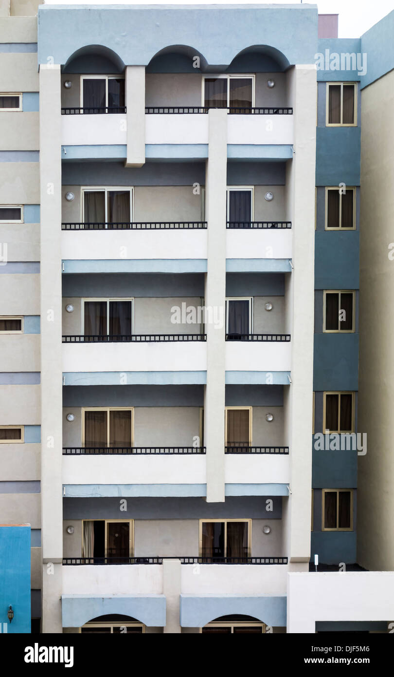 Mediterranean, Europe. Typical rented let apartments View from the front. Close up - Stock Image