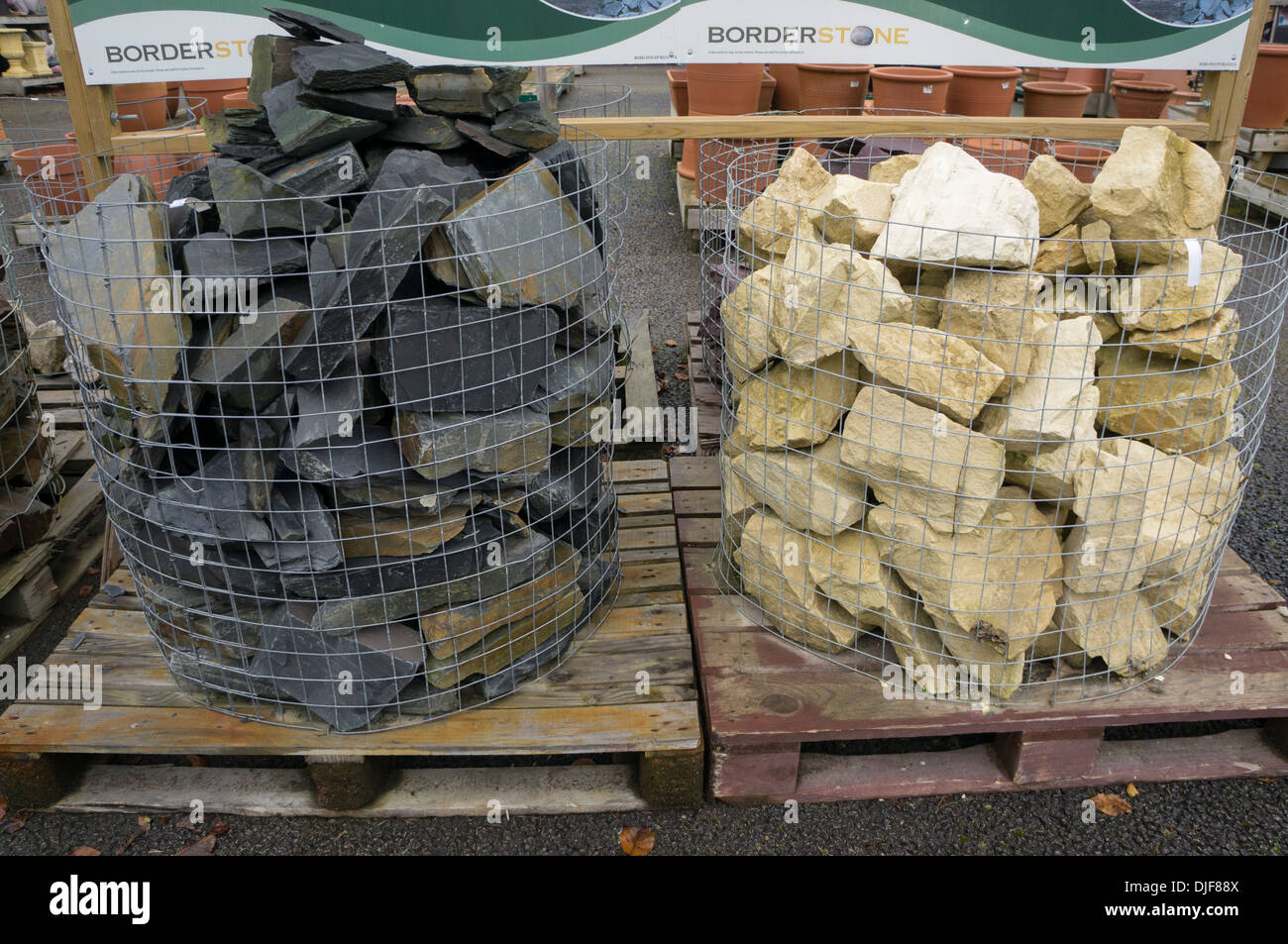 Natural Stone Product Display Garden Center England Stock Photo