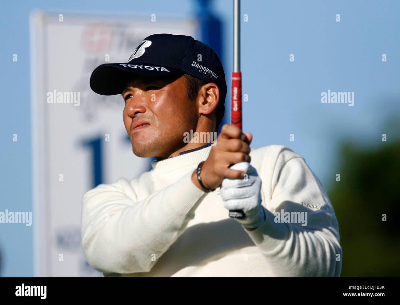 Feb 28, 2008 - Palm Beach Gardens, Florida, USA - SHIGEKI MARUYAMA follows his ball after teeing off at the 12th tee. The first round of the 2008 Honda Classic Gold Pro-Am on February 28, 2008. (Credit Image: © J. Gwendolynne Berry/Palm Beach Post/ZUMA Press) RESTRICTIONS: * USA Tabloids Rights OUT * - Stock Image
