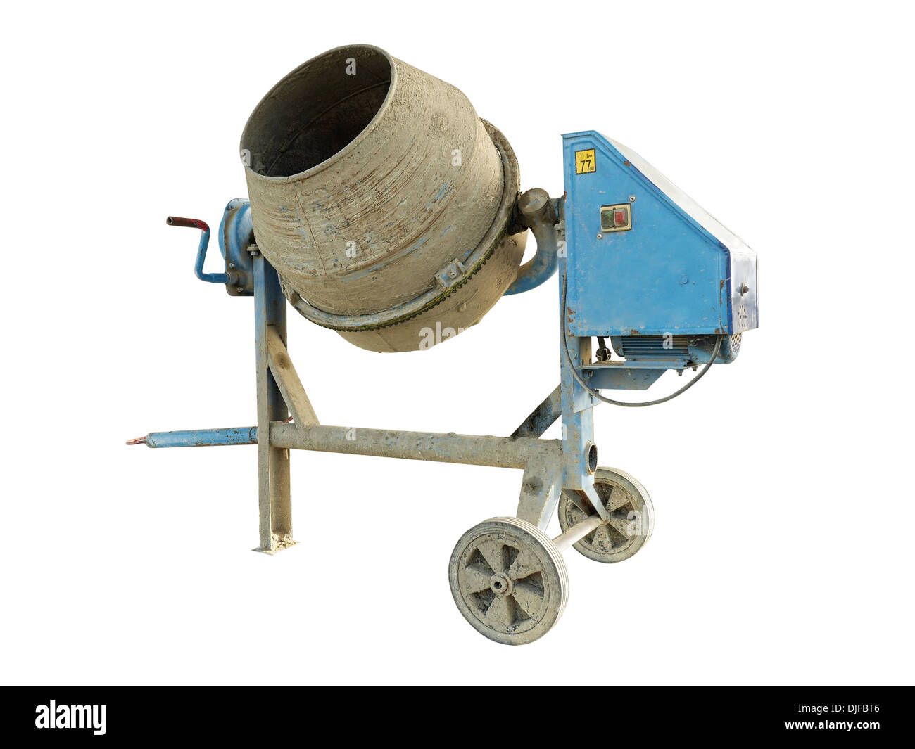 Old dirty concrete mixer isolated on white - Stock Image