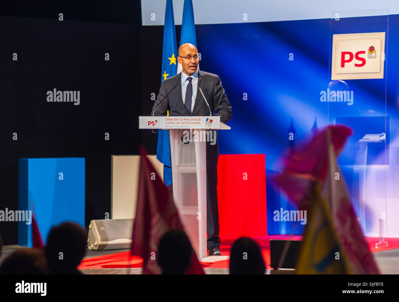 Paris, France, French Socialist Party Meeting, Against Extreme Right, Harlem Desir, Spokesperson Giving Speech at Podium in Mutualite Hall. Public Speaker - Stock Image