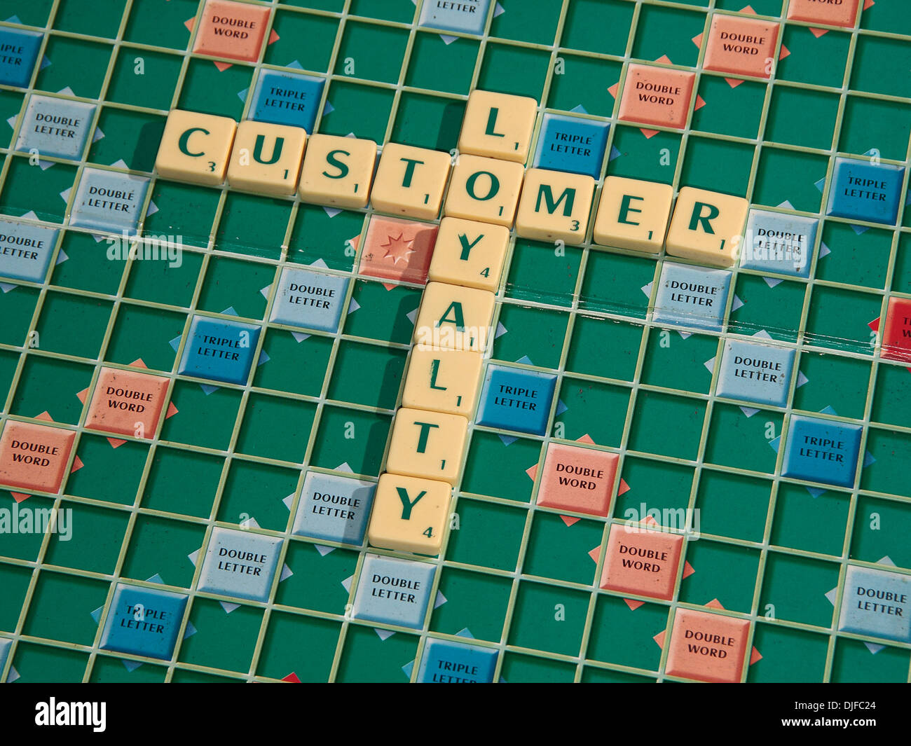 The phrase 'customer loyalty', written with scrabble tiles, on a scrabble board. - Stock Image