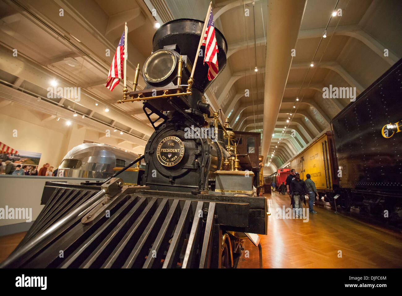 An 1858 Rogers wood-burning locomotive on display at the Henry Ford Museum. - Stock Image