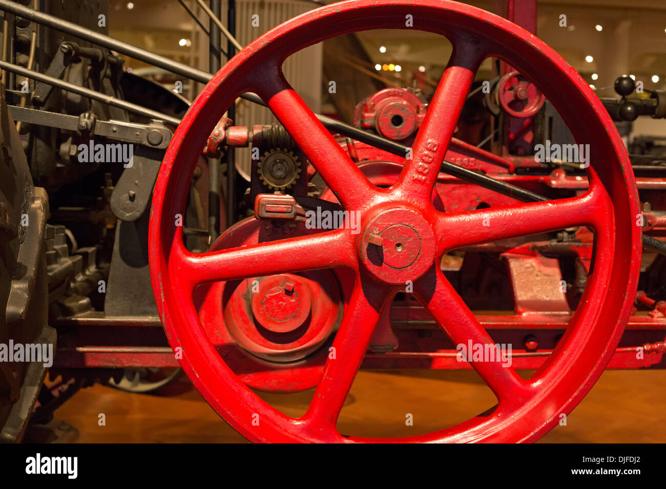 Dearborn, Michigan - Detail of a steam traction engine at the Henry Ford Museum. It was used to plow large farms - Stock Image