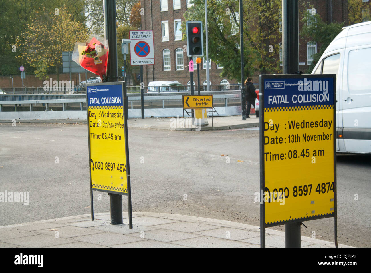 Police Fatal Collision signs at Bow flyover, London - Stock Image