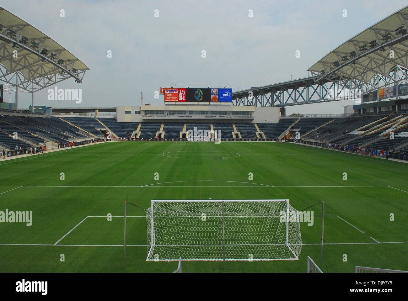 Jun 12, 2010 - Chester, Pennsylvania, U.S. - The Philadelphia Union Soccer Team opened their new stadium to season ticket holders for a pre-opening view and to watch the USA vs. England World Cup Match from South Africa. (Credit Image: © Ricky Fitchett/ZUMApress.com) - Stock Image