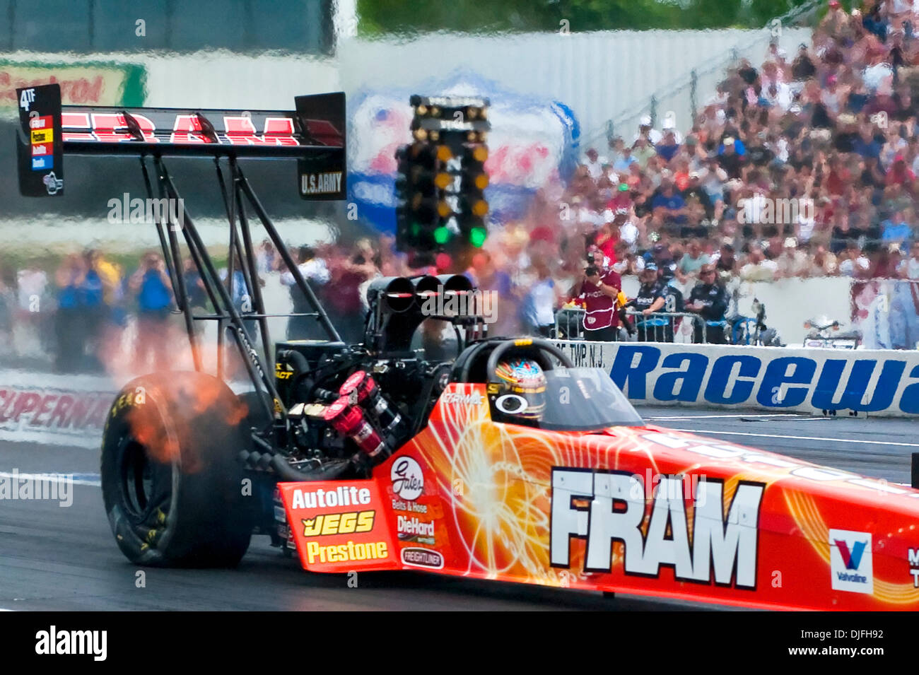 Cory Mcclenathan in the Fram Dragster during the Top Fuel qualifying at the  2010 NHRA SuperNationals