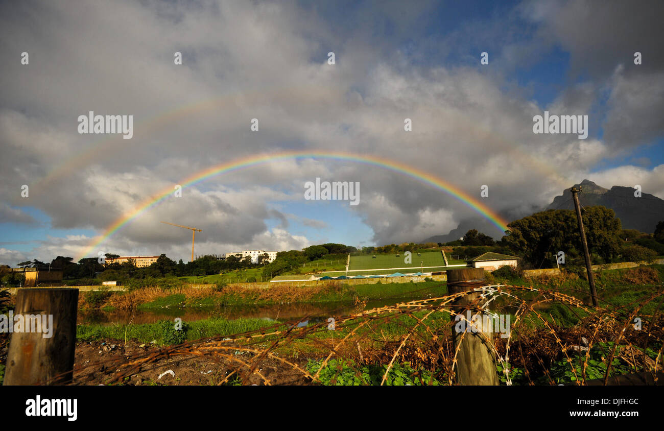 June 13, 2010 - Cape Town, SOUTH AFRICA - A rainbow is seen in a rural area Sunday, June 13, 2010 in Cape Town, South Africa. (Credit Image: © Mark Sobhani/ZUMApress.com) Stock Photo