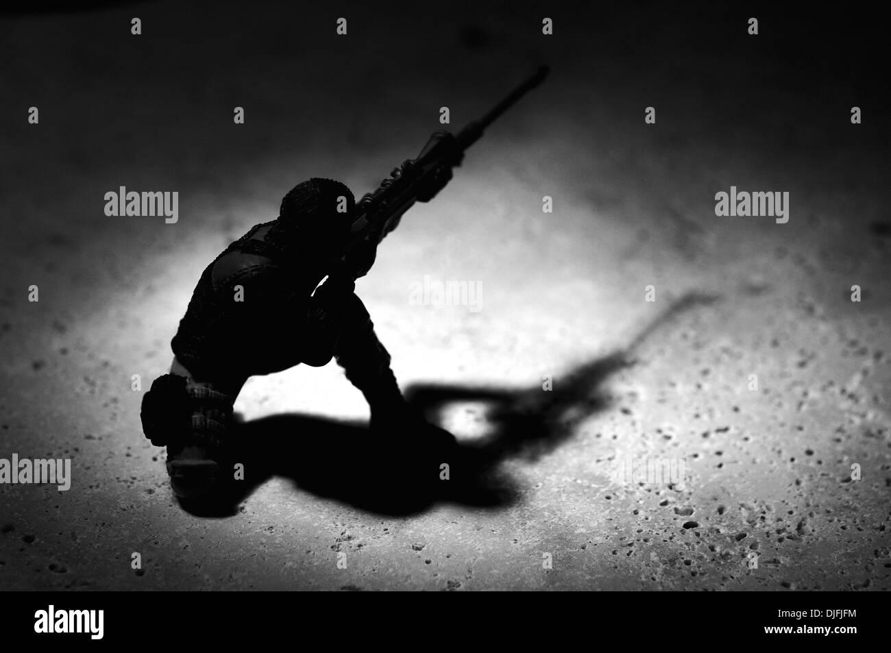 Sniper taking aim - Stock Image
