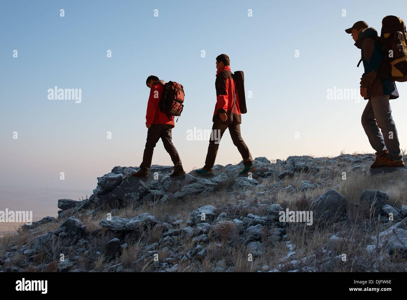 Trekking In Mountains Greet The Morning Sun Stock Photo 63043974