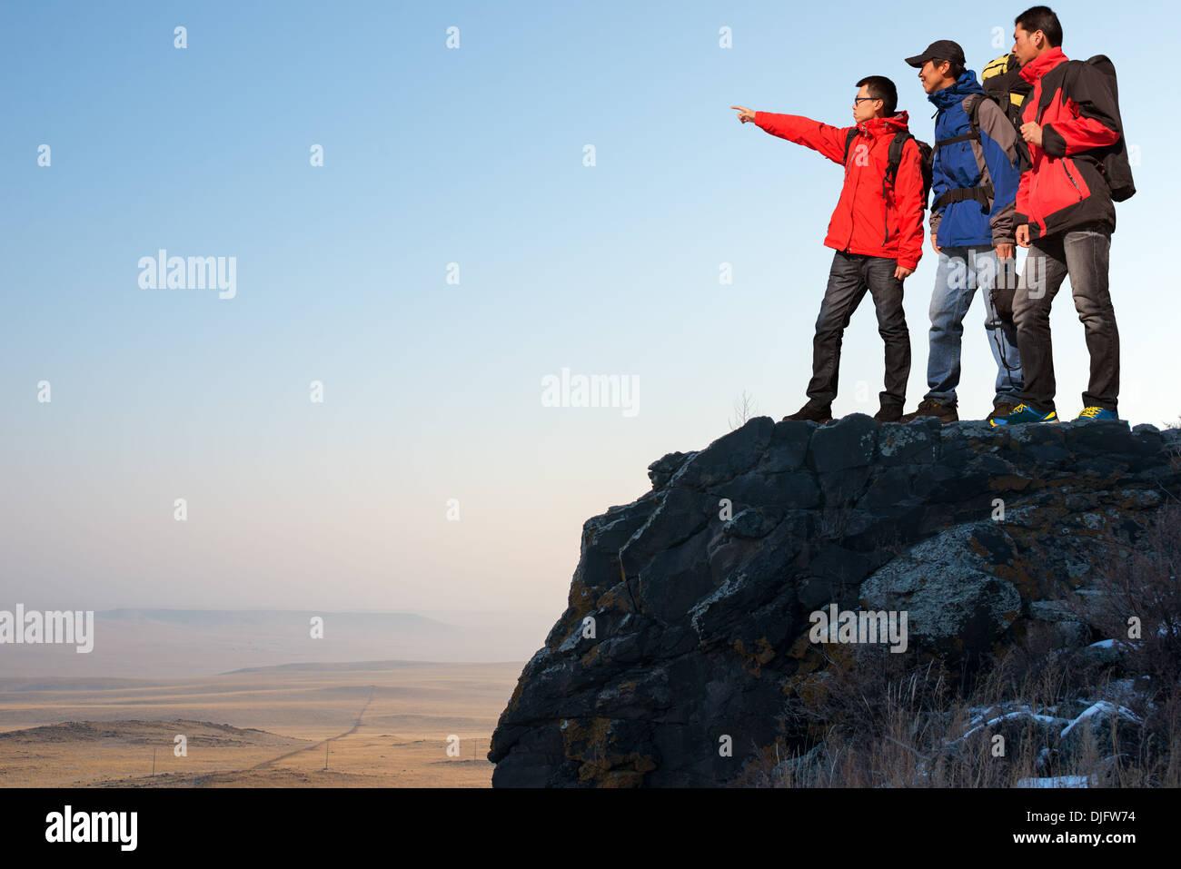 Trekking In Mountains Greet The Morning Sun Stock Photo 63043992