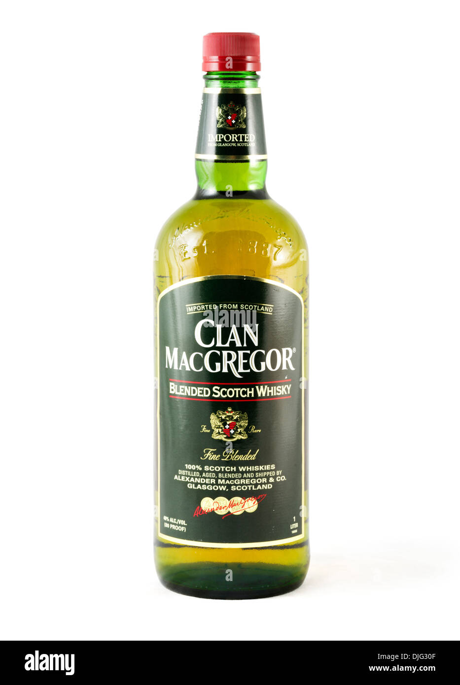 Bottle of Clan MacGregor imported blended Scotch Whisky, USA - Stock Image
