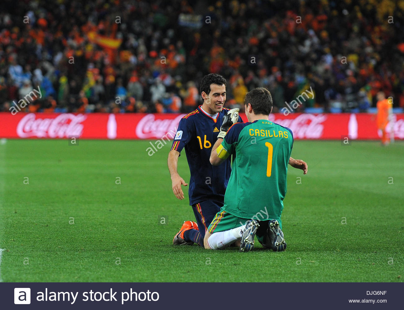 c9bab9de929 Iker Casillas of Spain celebrates with Sergio Busquets of Spain..FIFA World  Cup 2010 Final..Netherlands v Spain..11th July