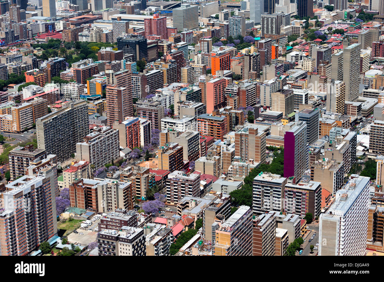 Aerial view of high-rise office buildings.Johannesburg.South Africa - Stock Image