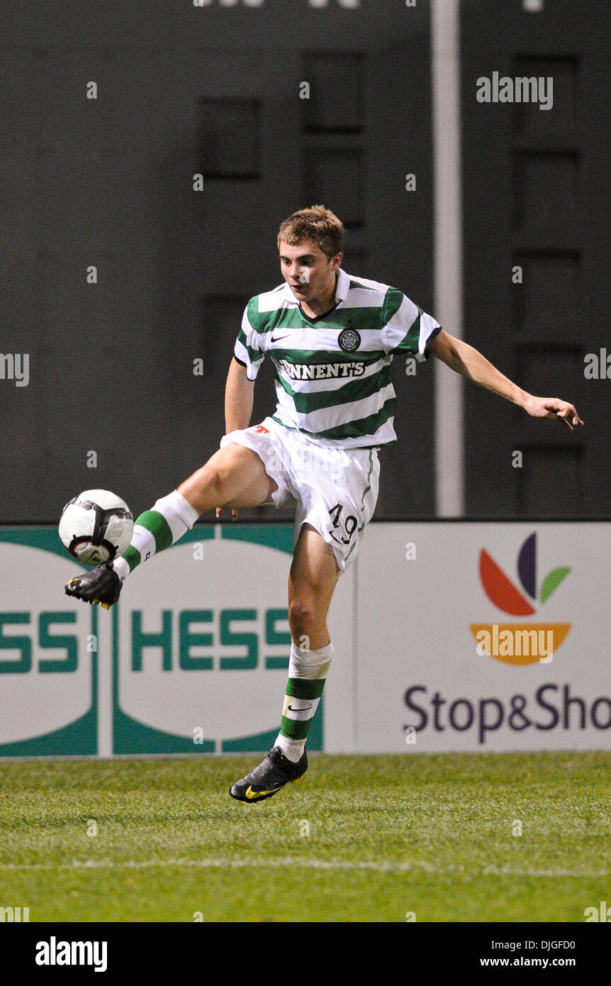 July 21, 2010 - Boston, Massachusetts, U.S - 21 July 2010: Celtic midfielder James Forrest (49) controls the ball out of the air. Celtic FC defeated Sporting 6 - 5 in penalty kicks, with a final 1 - 1 score during an international friendly at Fenway Park, Boston, Massachusetts to win the first Fenway Football Challenge. (Credit Image: © Geoff Bolte/Southcreek Global/ZUMApress.com) - Stock Image