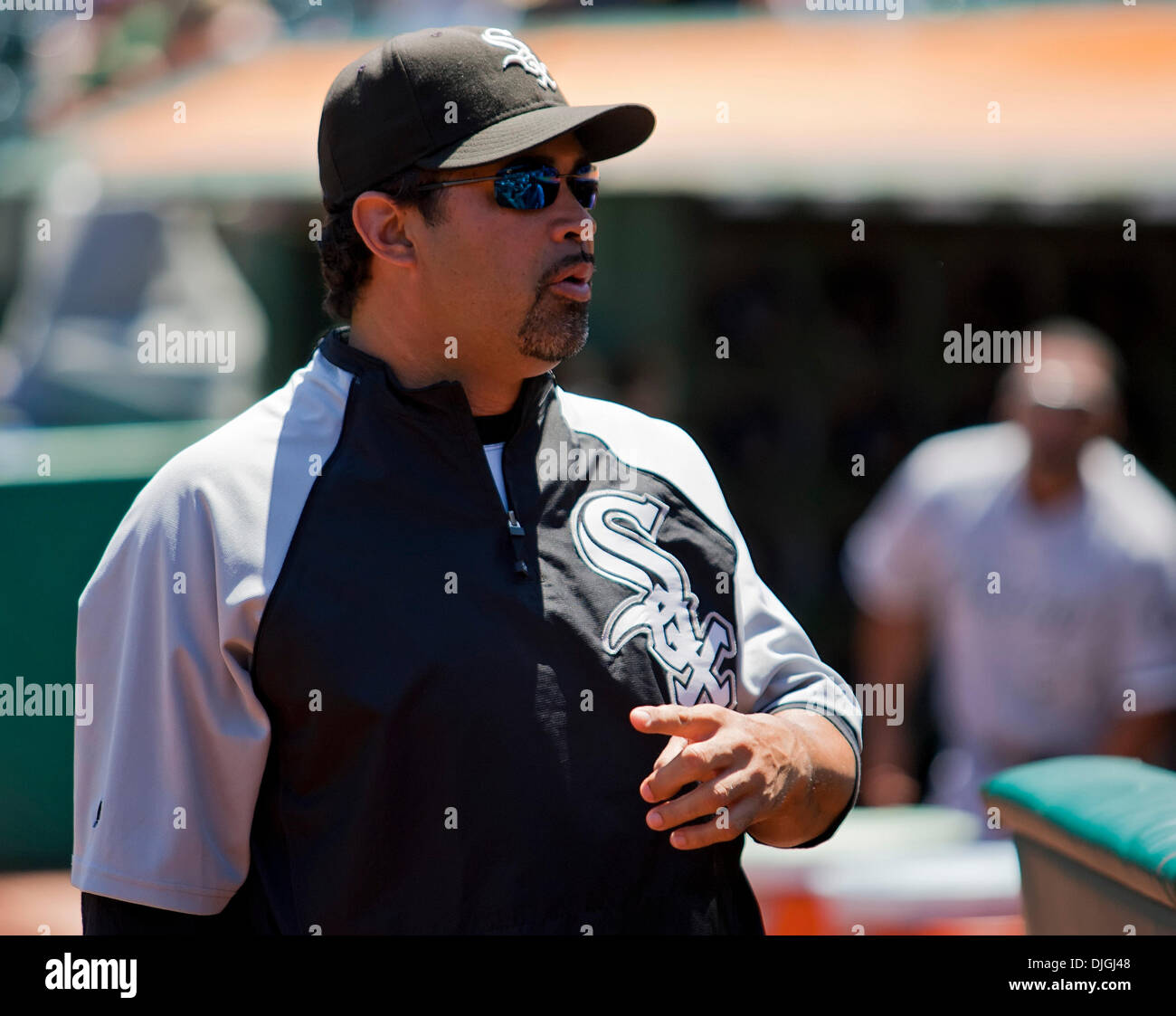 July 24, 2010 - Oakland, CA, United States of America - July 24, 2010: White Sox Manager Ozzie Guillen  prior to the game between the Oakland A's and the Chicago White Sox at the Oakland-Alameda County Coliseum in Oakland CA. The A's defeated the White Sox 10-2. Mandatory Credit: Damon Tarver/ Southcreek Global. (Credit Image: © Southcreek Global/ZUMApress.com) - Stock Image