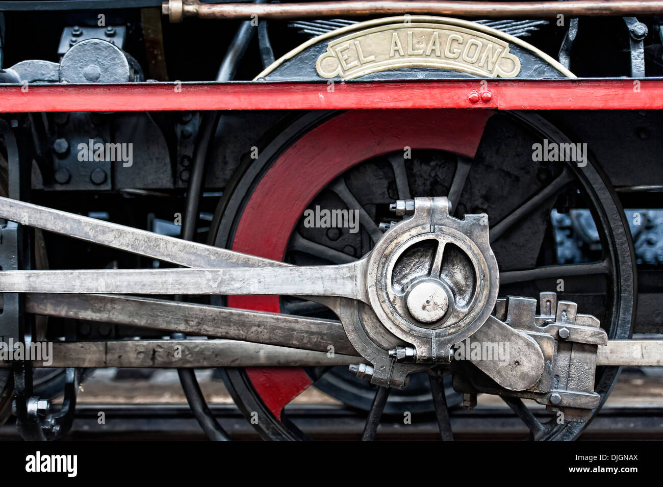 Steam locomotive wheels assembly - Stock Image
