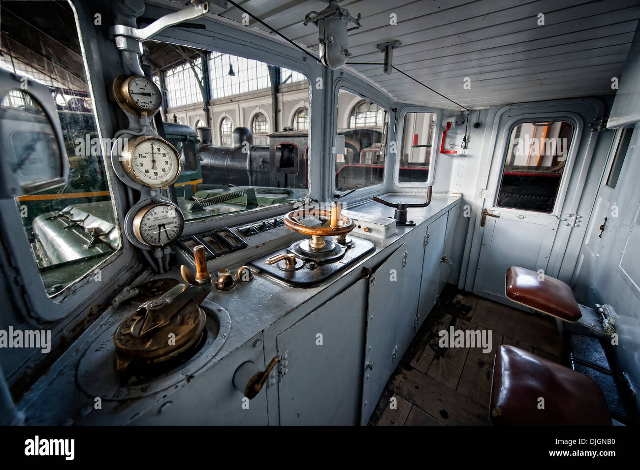 Electric locomotive train cockpit - Stock Image