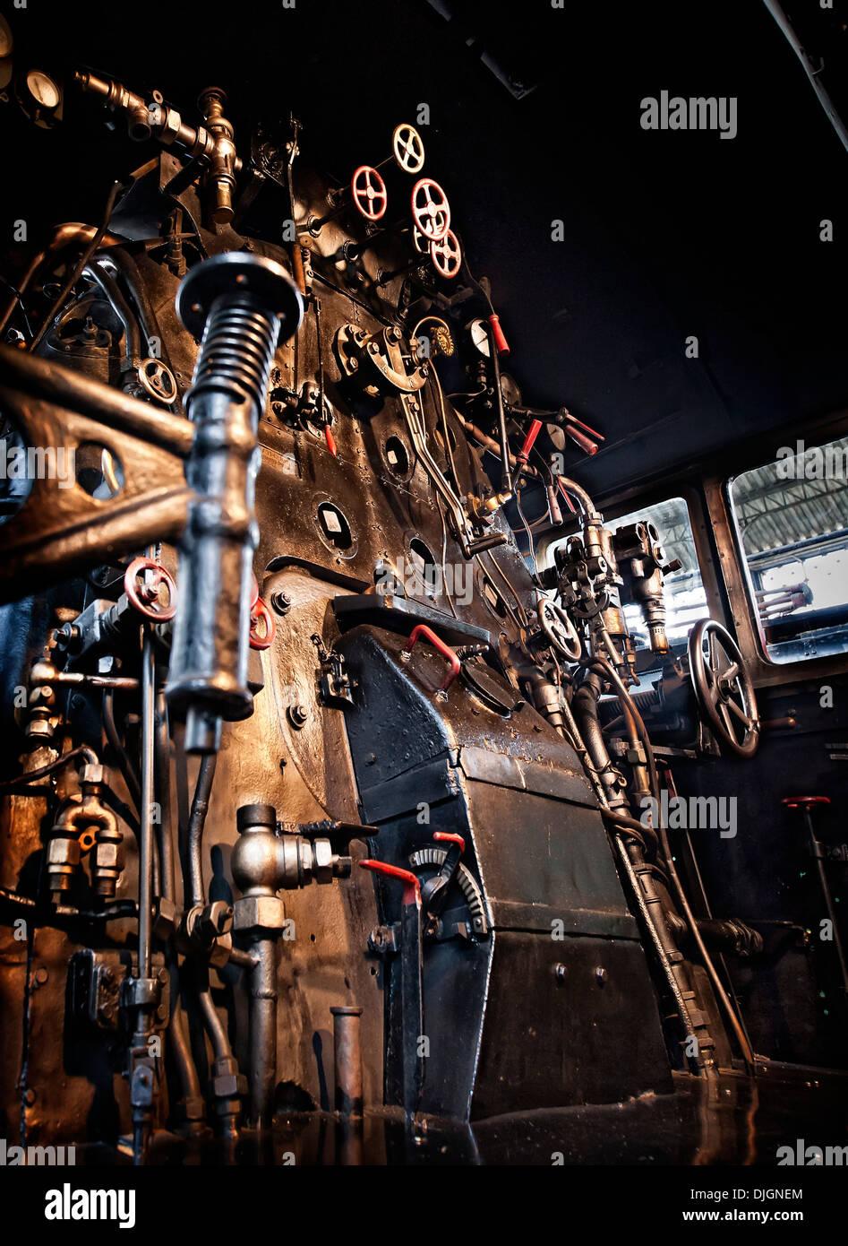 Locomotive steam gauges - Stock Image