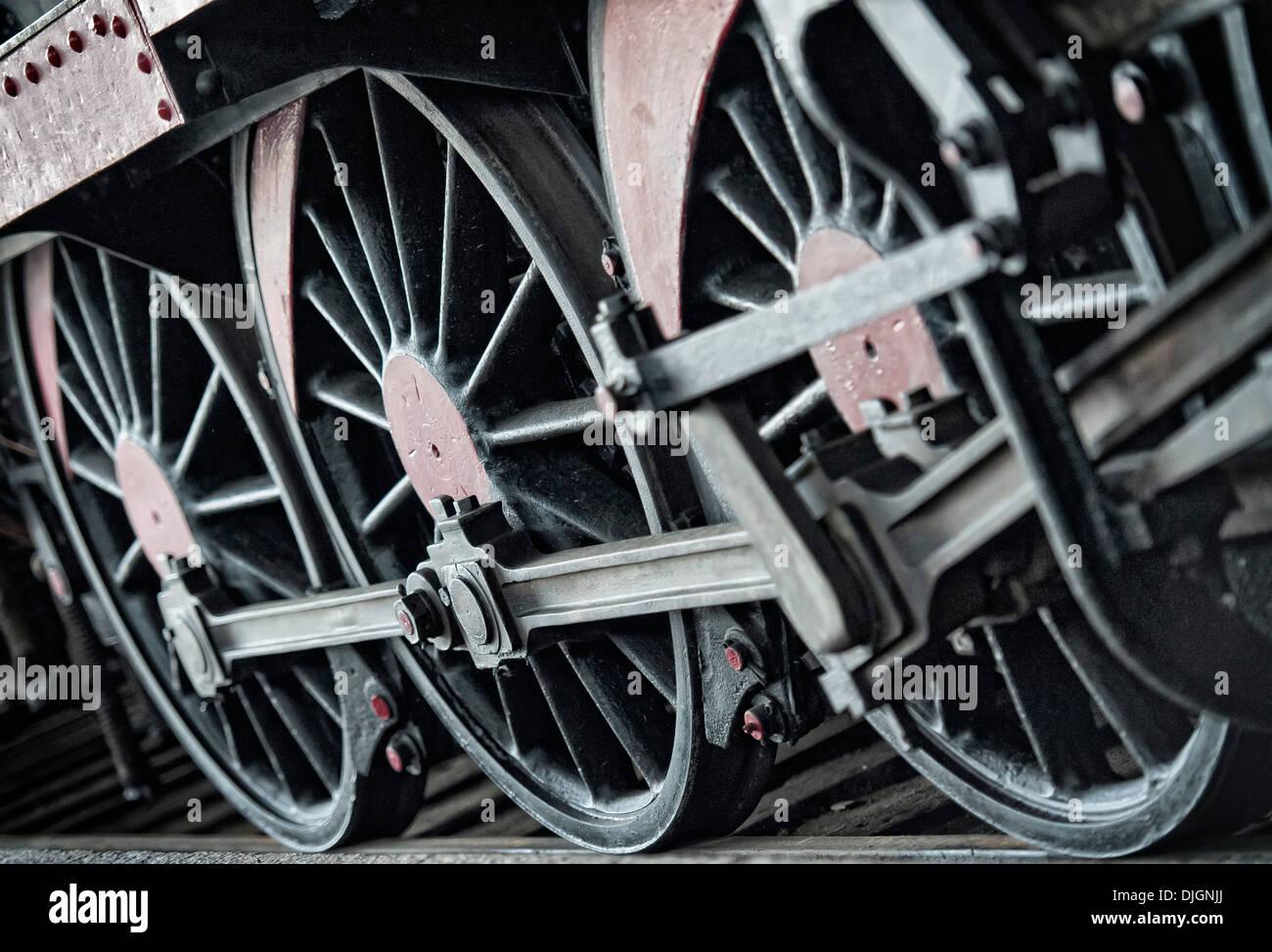 Train locomotive wheels - Stock Image