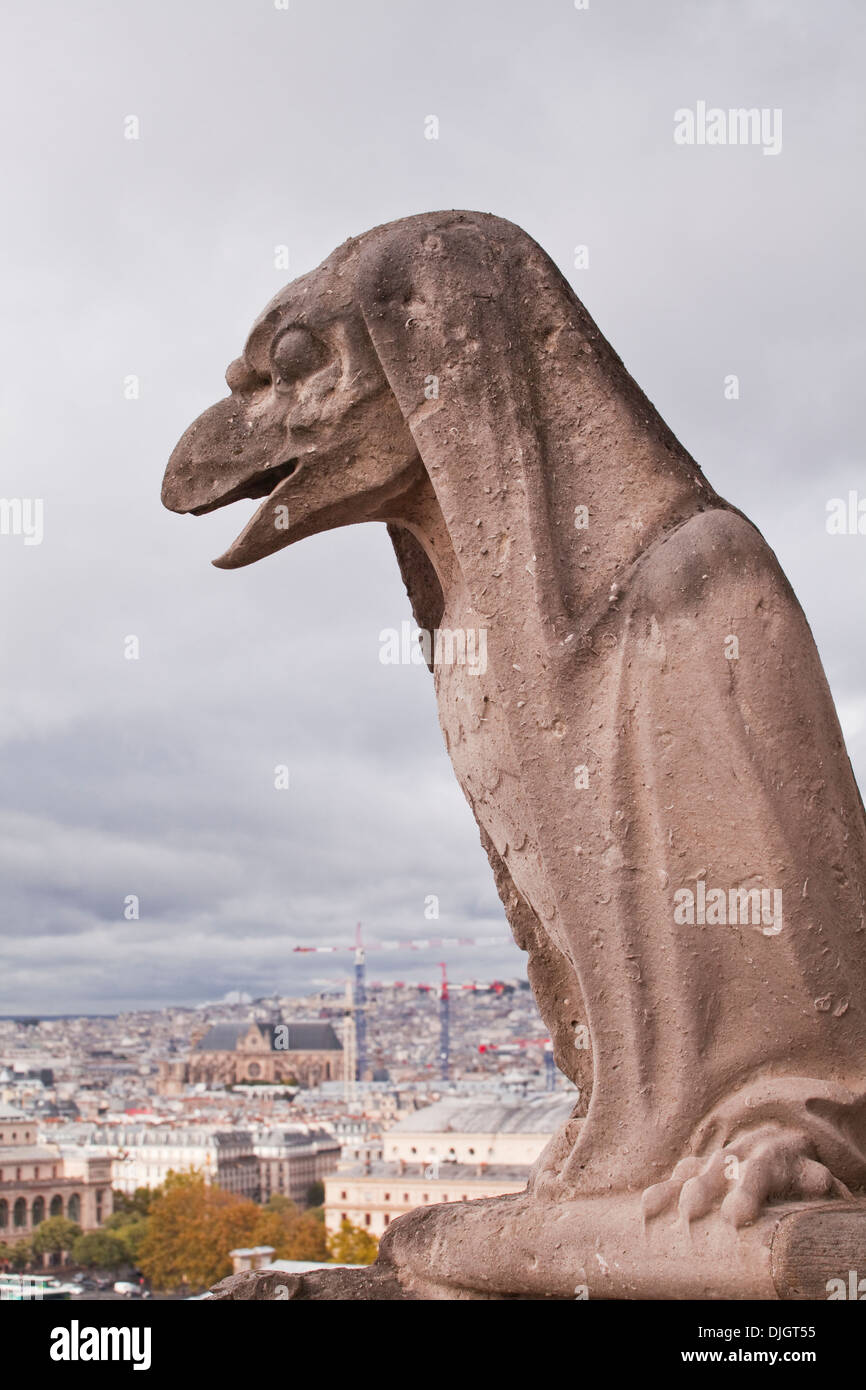 One of the famous gargoyles of Notre Dame de Paris cathedral. - Stock Image