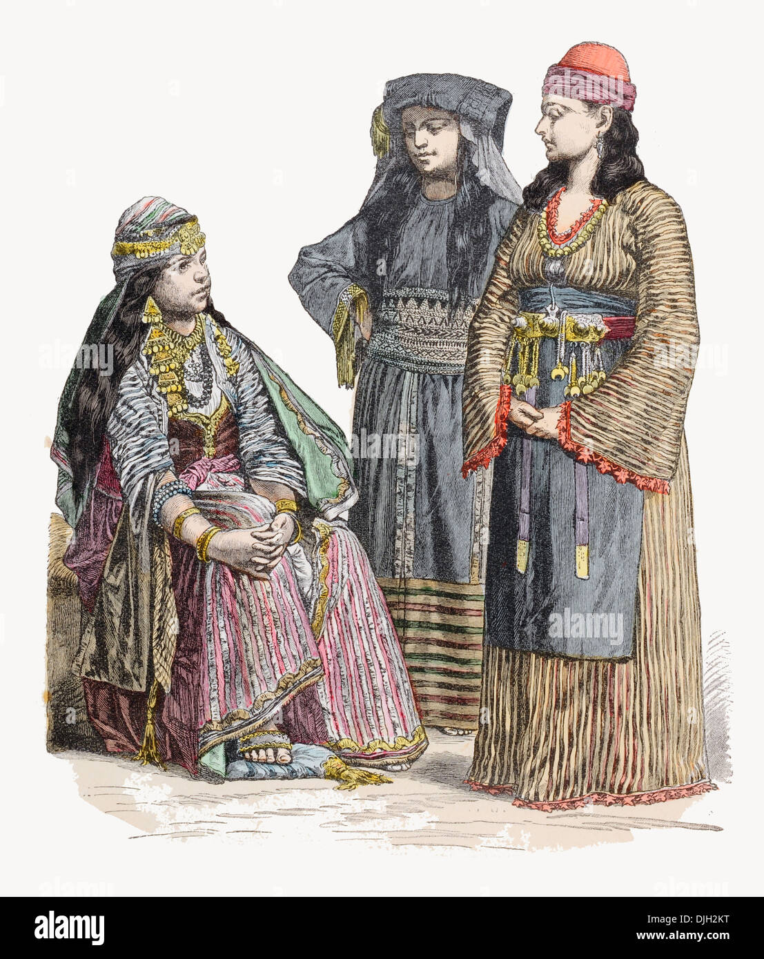 19th century XIX Syria Left to right Woman of Damascus, Muslim Lady and another Woman of Damascus - Stock Image