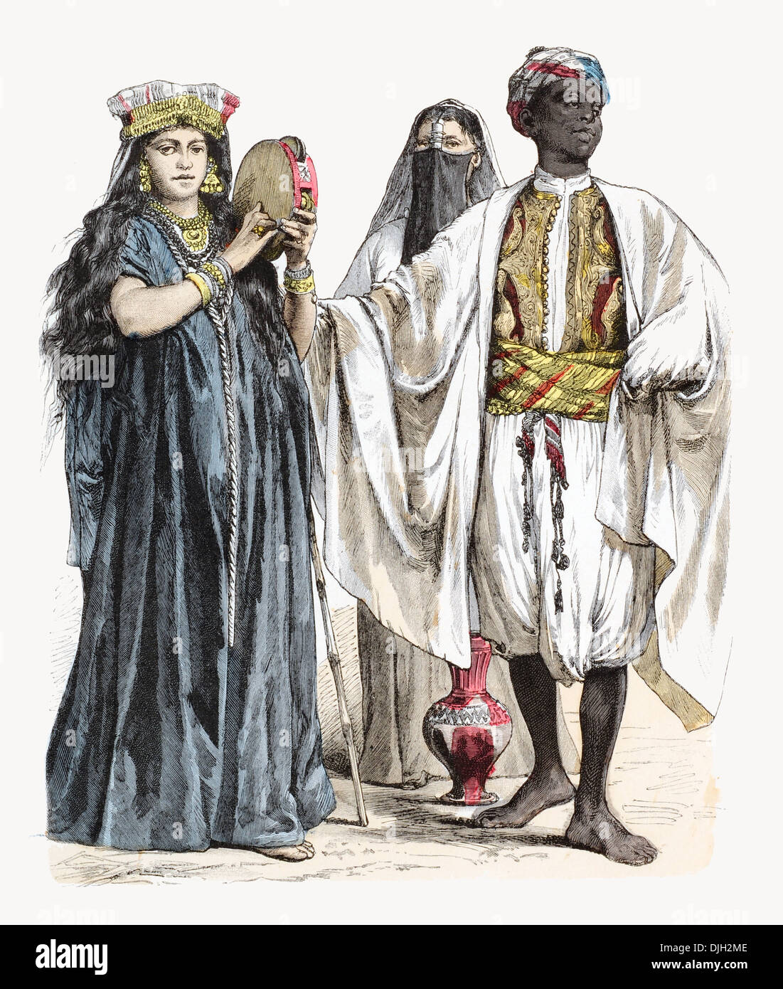 19th century XIX Egyptian playing a tambourine, Muslim female water carrier and n African servant - Stock Image