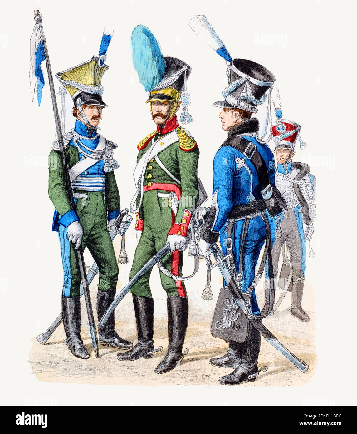 Early 19th century XIX  Bavarian military Left to right lancer, cavalryman, and hussar - Stock Image