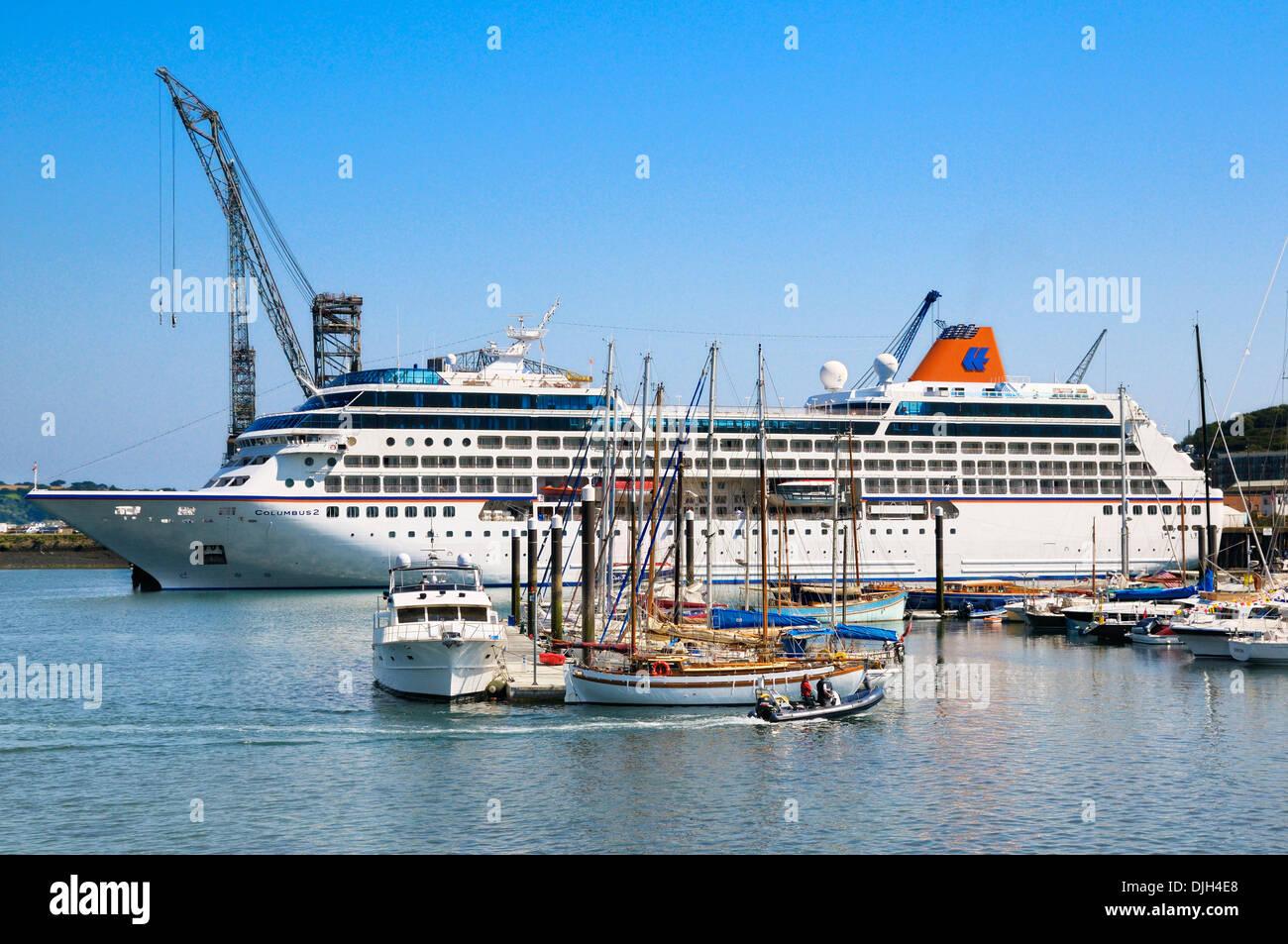 Cruise ship Columbus II docked in Falmouth, Cornwall, UK - Stock Image