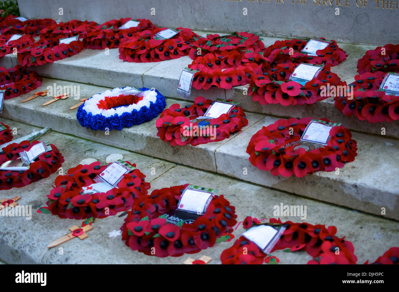 Poppy Wreaths laid on Norwich War Memorial during Remembrance Sunday - Stock Image