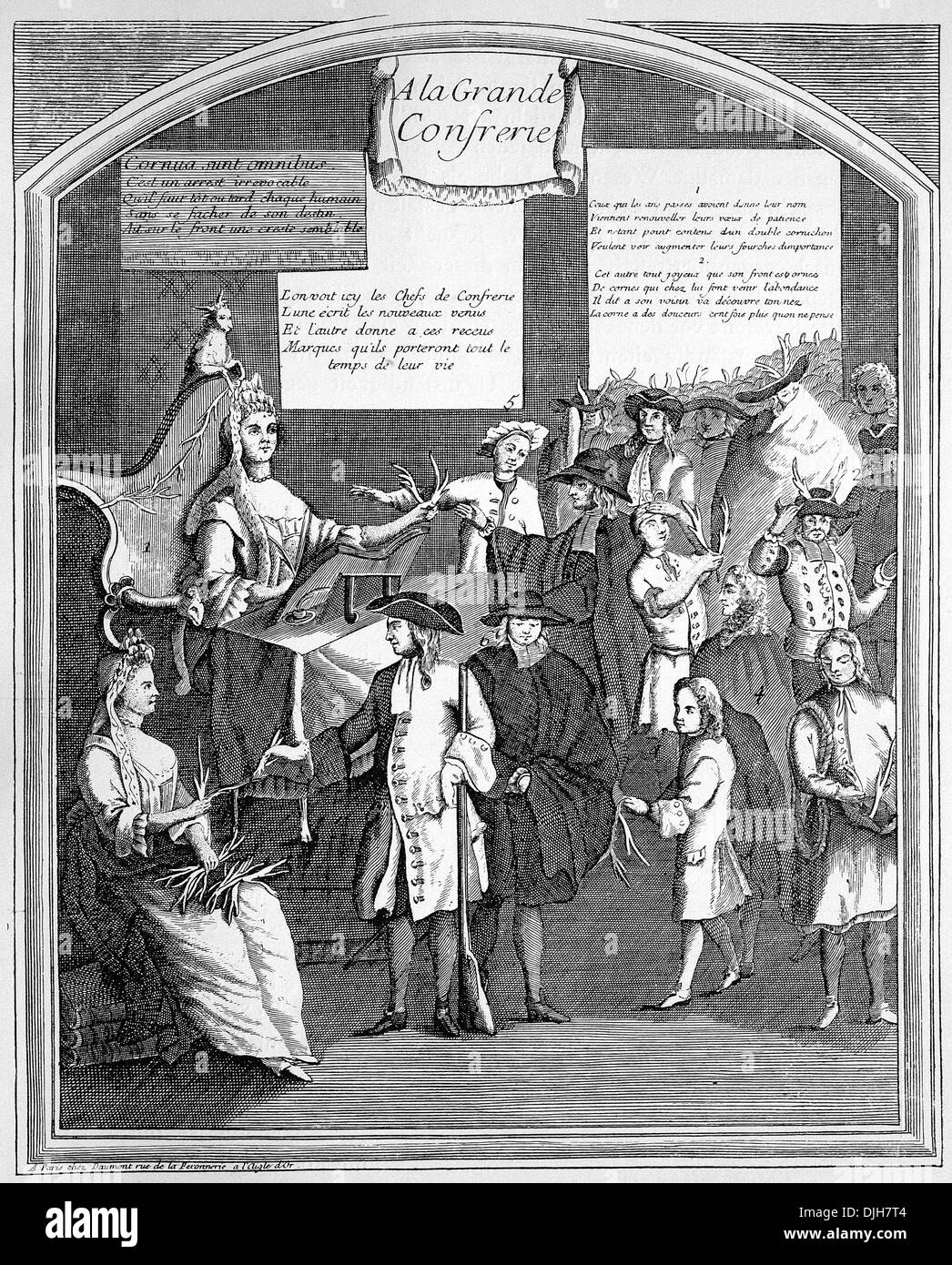 The fate of all married men, symbolic satirical copper engraving, France, circa 1700 - Stock Image