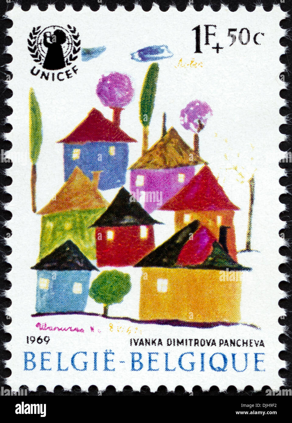 postage stamp Belgium 1F+50c featuring UNICEF children's painting issued 1969 - Stock Image