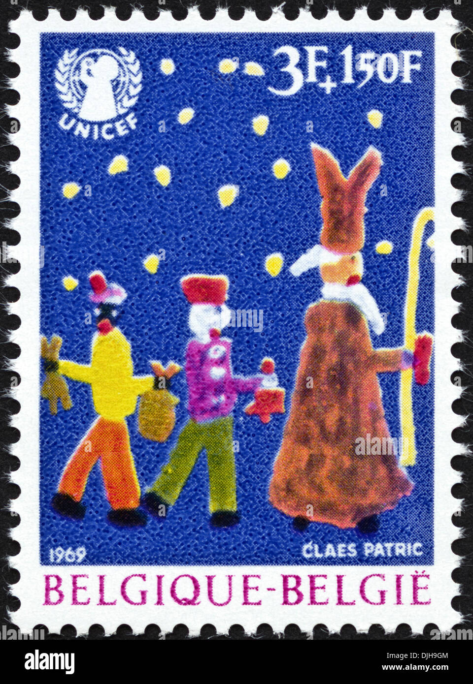 postage stamp Belgium 3F+1,50Ffeaturing UNICEF children's painting issued 1969 - Stock Image