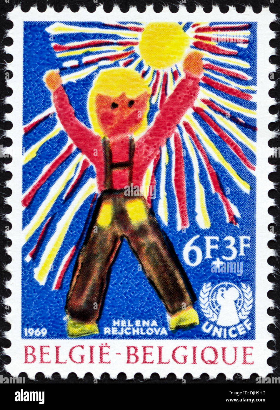 postage stamp Belgium 6F+3F featuring UNICEF children's painting issued 1969 - Stock Image