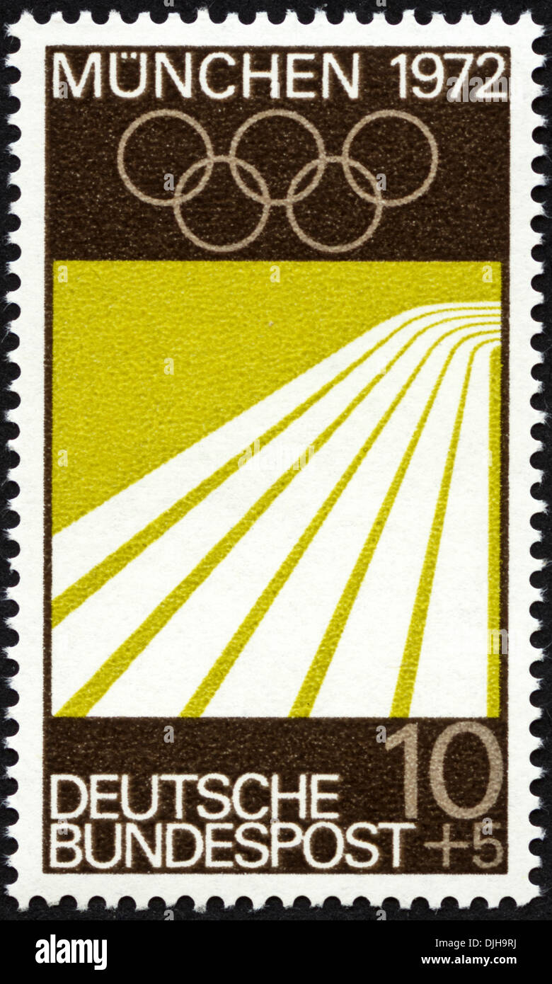 postage stamp Germany 10+5 featuring Munich Olympic Games 1972 issued 1969 - Stock Image