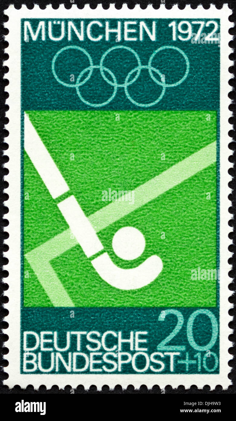 postage stamp Germany 20+10 featuring Munich Olympic Games 1972 issued 1969 - Stock Image