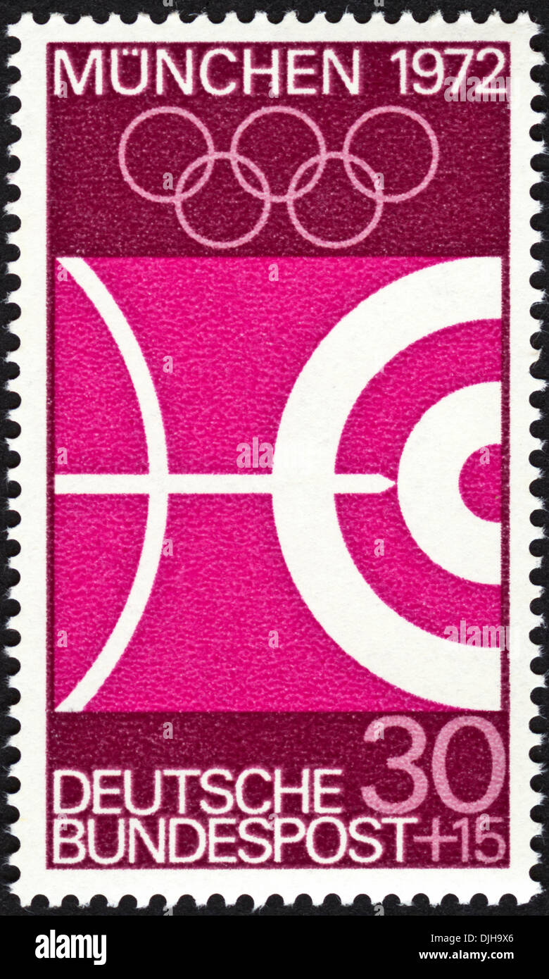 postage stamp Germany 30+15 featuring Munich Olympic Games 1972 issued 1969 - Stock Image