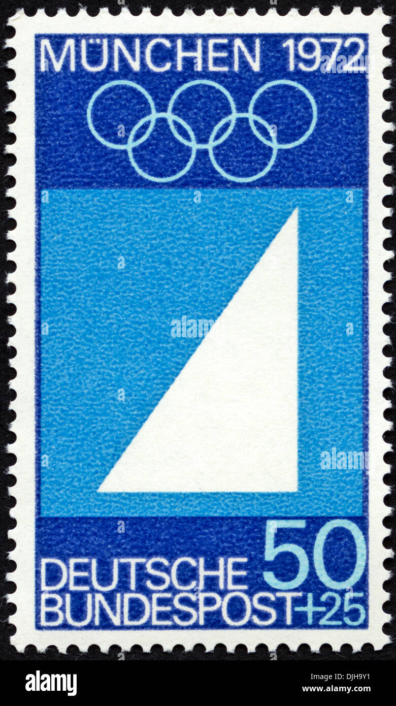 postage stamp Germany 50+25 featuring Munich Olympic Games 1972 issued 1969 - Stock Image