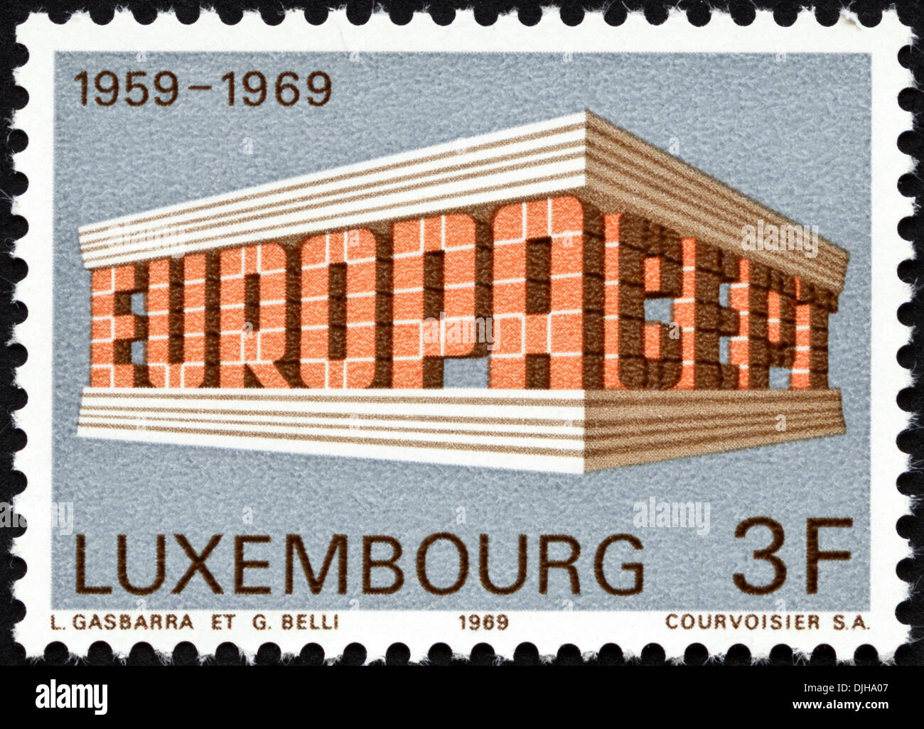 postage stamp Luxembourg 3F featuring Europa CEPT 1959 - 1969 dated 1969 - Stock Image