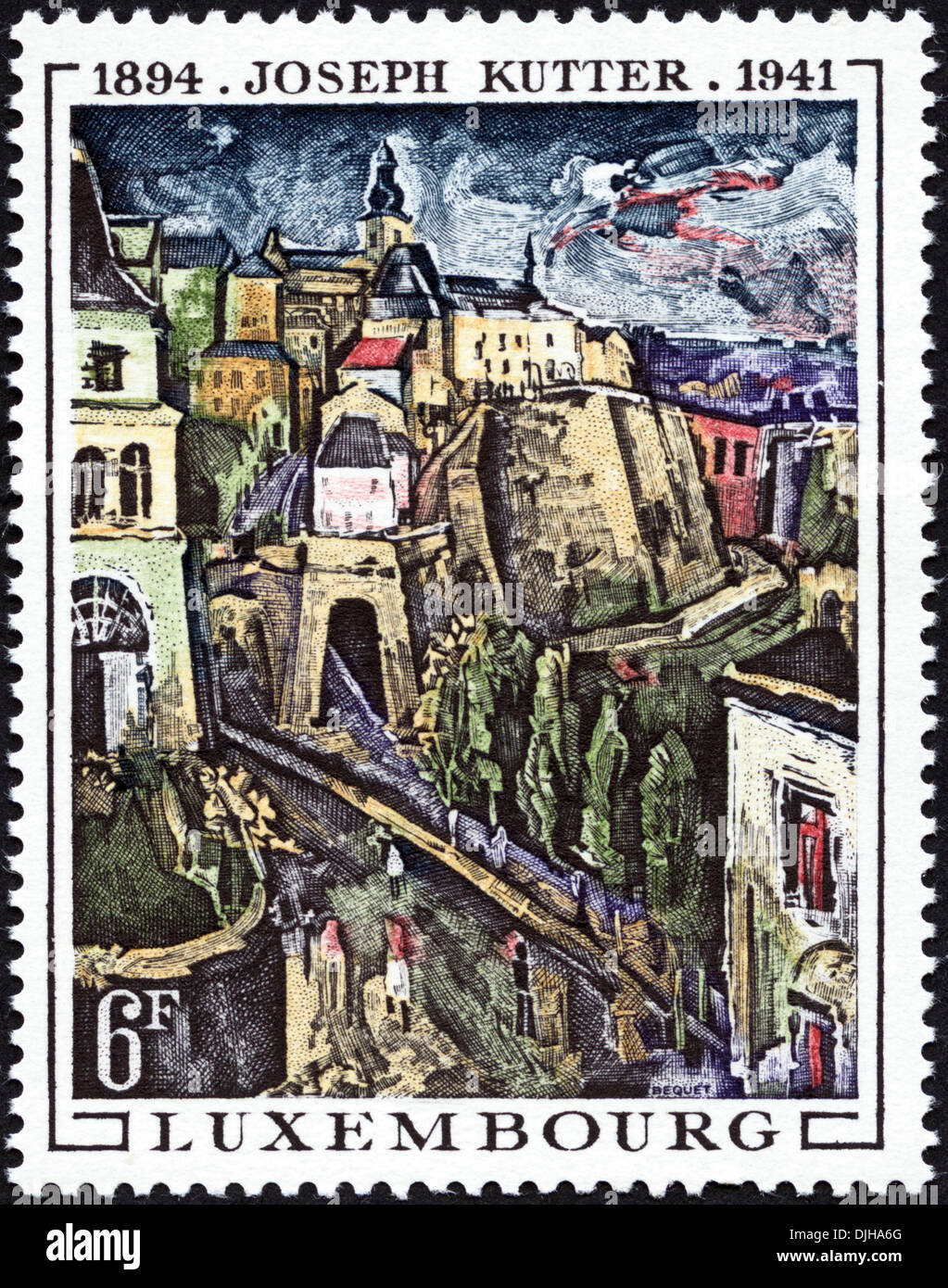 postage stamp Luxembourg 6F featuring artist Joseph Kutter 1894 - 1941 dated 1969 - Stock Image