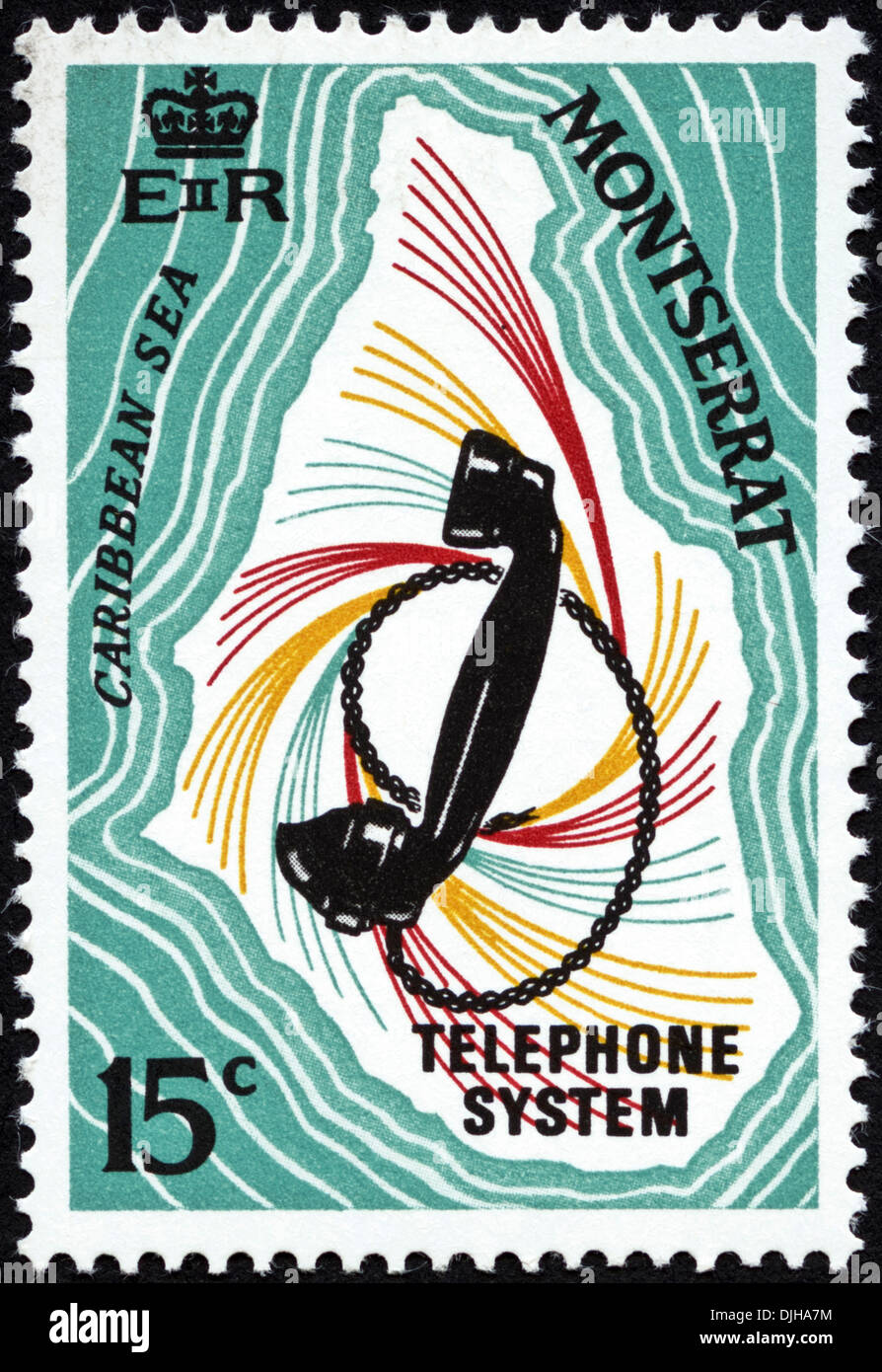 postage stamp Montserrat 15c featuring Telephone System dated 1969 - Stock Image