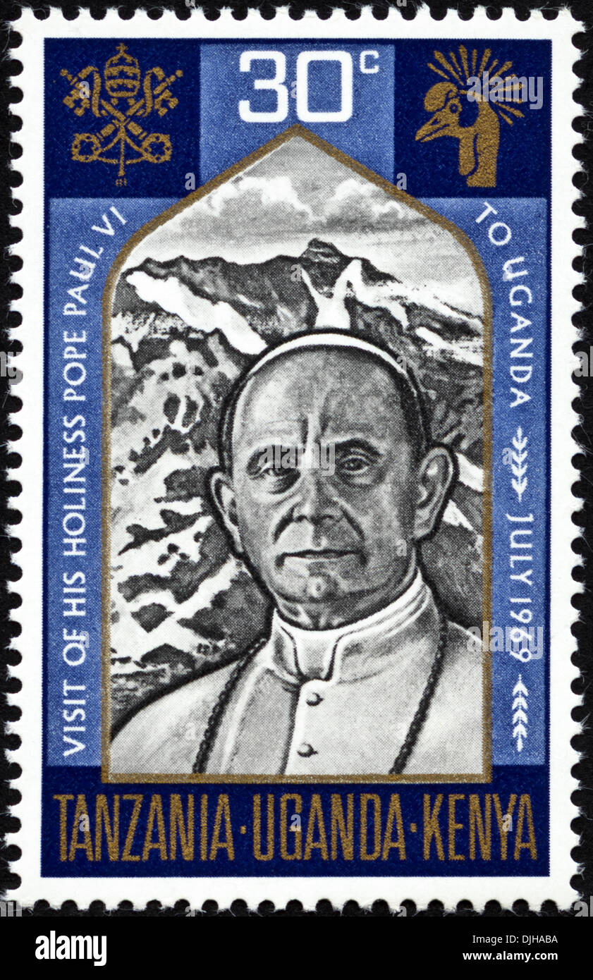 postage stamp Uganda 30c featuring Visit of His Holiness Pope Paul VI to Uganda July 1969 issued 1969 - Stock Image