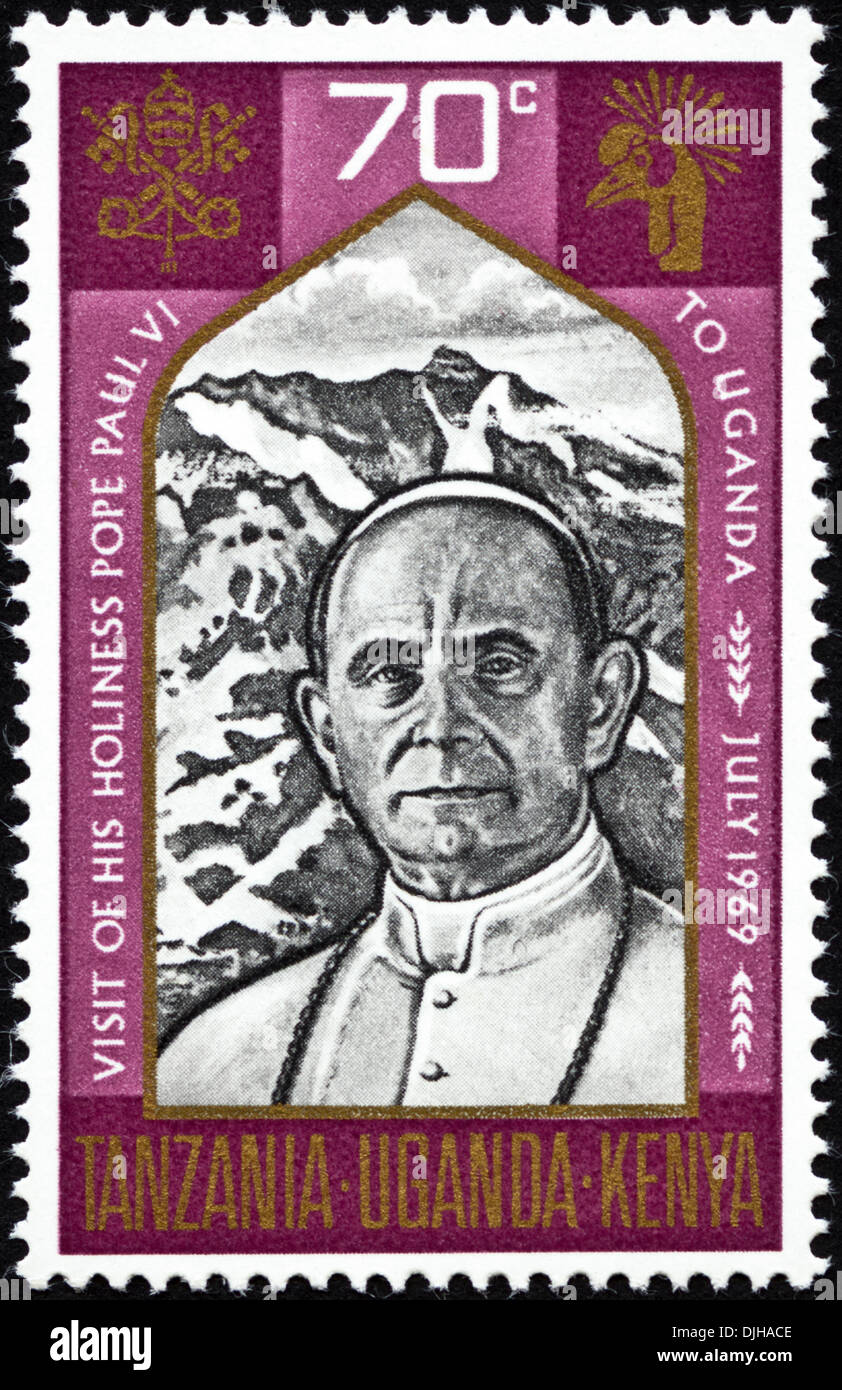 postage stamp Uganda 70c featuring Visit of His Holiness Pope Paul VI to Uganda July 1969 issued 1969 - Stock Image