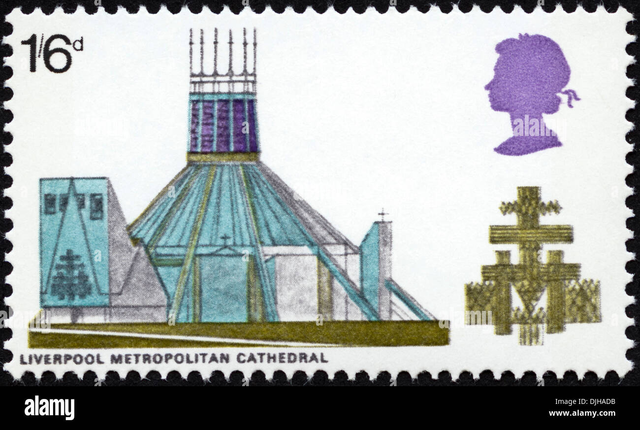 postage stamp United Kingdom 1s6d featuring Liverpool Metropolitan Cathedral dated 1969 - Stock Image
