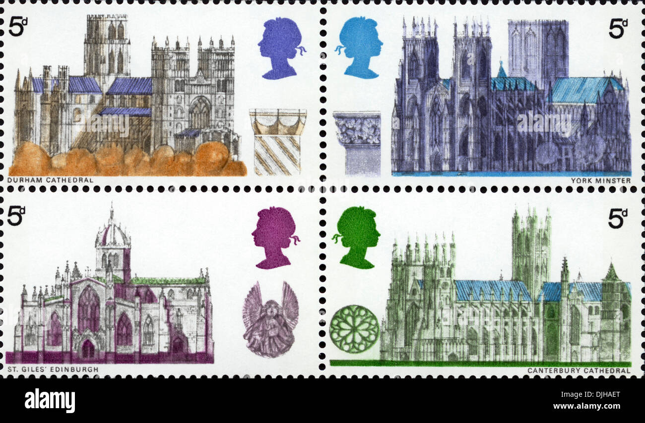 postage stamp United Kingdom 5d featuring Durham, York Minster, St Giles Edinburgh & Canterbury Cathedrals issued 1969 - Stock Image