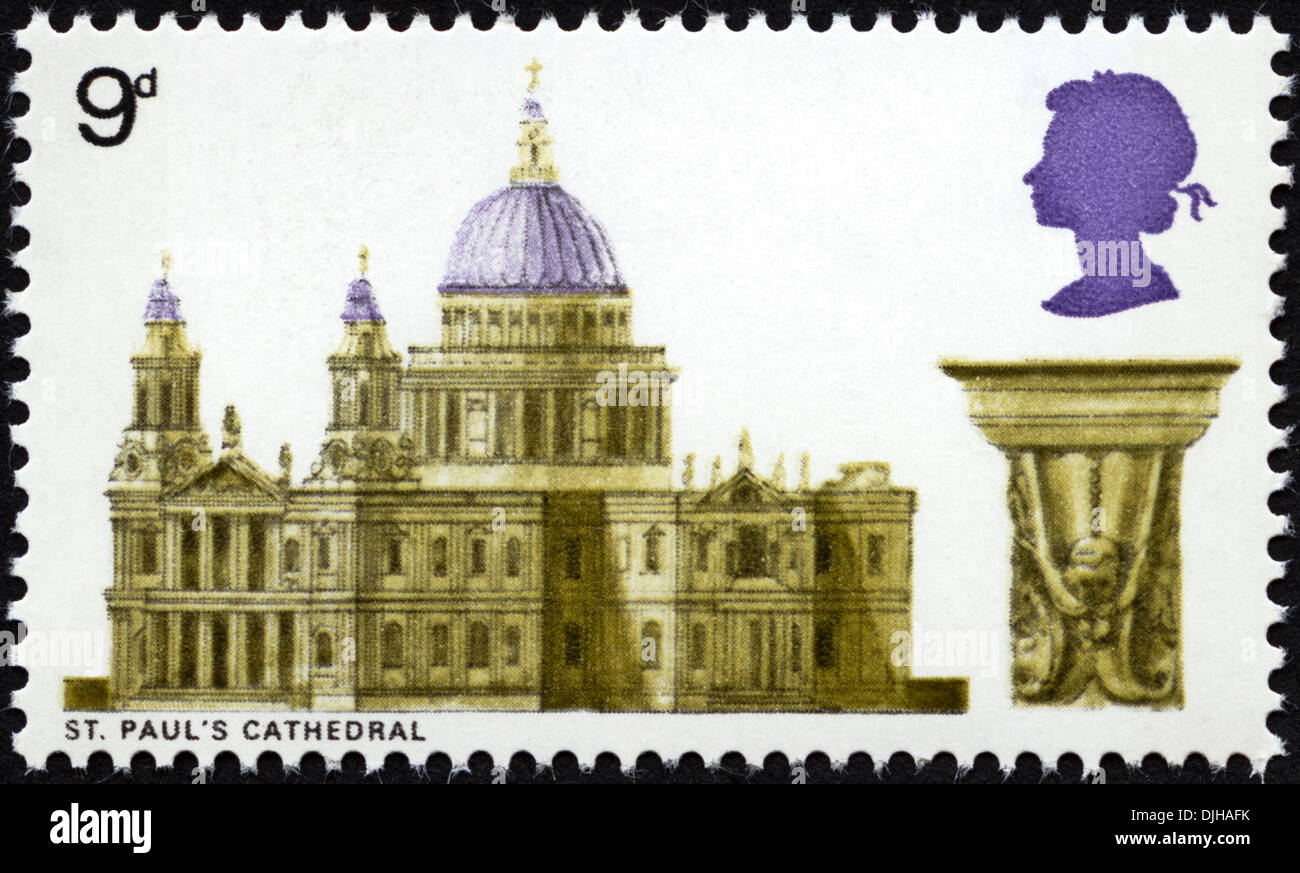 postage stamp United Kingdom 9d featuring St. Paul's Cathedral dated 1969 - Stock Image