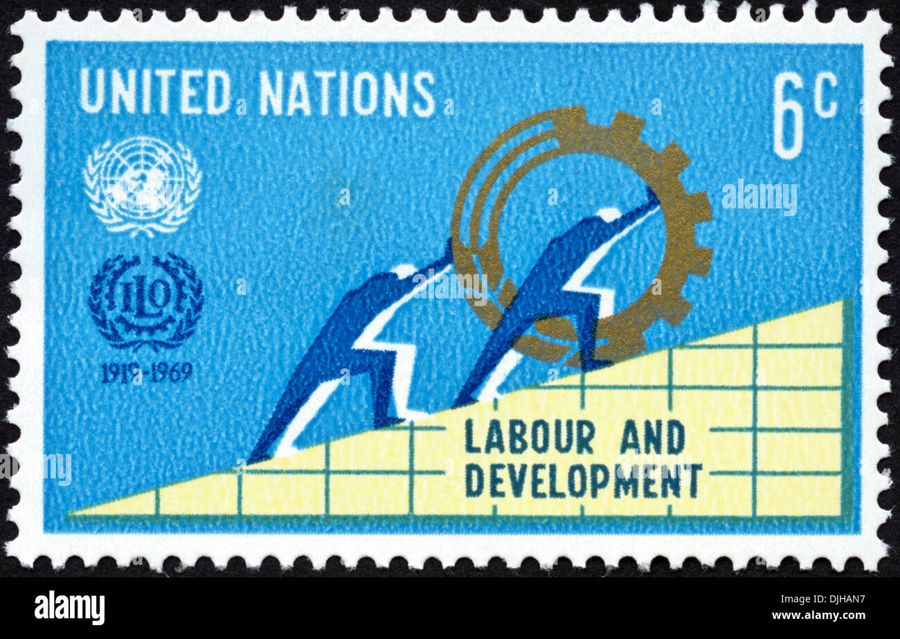 postage stamp United Nations 6c featuring 50th Anniversary of Labour and Development 1919 - 1969 dated 1969 - Stock Image